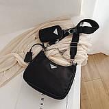 Сумка жіноча стильна нейлонова в стилі Prada Re-edition 2005. Сумочка текстильна (чорна), фото 4