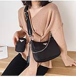 Сумка жіноча стильна нейлонова в стилі Prada Re-edition 2005. Сумочка текстильна (чорна), фото 2