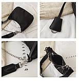 Сумка жіноча стильна нейлонова в стилі Prada Re-edition 2005. Сумочка текстильна (чорна), фото 6