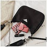 Сумка жіноча стильна нейлонова в стилі Prada Re-edition 2005. Сумочка текстильна (чорна), фото 7