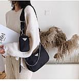 Сумка жіноча стильна нейлонова в стилі Prada Re-edition 2005. Сумочка текстильна (чорна), фото 3
