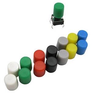 10x Колпачок круглый тактовой кнопки микрика 6мм, высота от 6мм, цилиндр