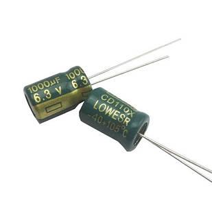 10x Конденсатор электролитический алюминиевый 1000мкФ 6.3В 105С