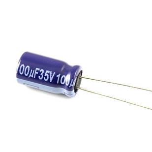 10x Конденсатор электролитический алюминиевый 100мкФ 35В 105С