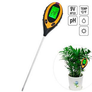 Анализатор почвы 4в1 измеритель соли, pH, температуры, освещения AMT-300