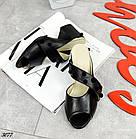 Сабо черные на устойчивом каблуке, натуральная кожа, фото 6