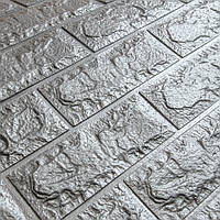Декоративная 3Д-панель 5 шт. стеновая Серебро Кирпич (самоклеющиеся 3d панели для стен оригинал) 700x770x7 мм, фото 1