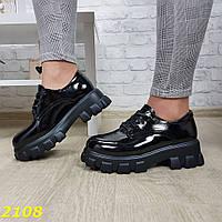 Женские лаковые туфли на платформе, черные, код SL-2108