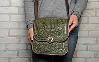 """Кожаная сумка ручной работы с тисненым орнаментом """"Фундук"""", большая оливковая кожаная сумка через плечо, фото 1"""