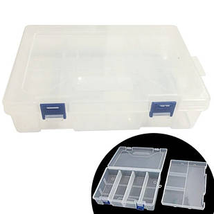 Коробка органайзер кейс для радиодеталей Arduino, двойной 220х150х60мм