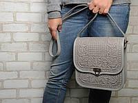 """Кожаная сумка ручной работы с тисненым орнаментом """"Фундук"""", большая серая кожаная сумка через плечо, фото 1"""