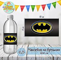 """Наклейка тематическая на бутылку (12*6см)""""Бэтмен/Бетмен/Batman""""-"""