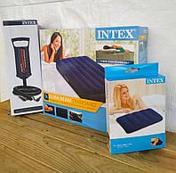 """Надувной матрас """"Intex"""" #64758 Синий 137х191х25 см. Велюр. Ручной насос и подушка в комплекте. Полуторный"""