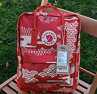 Рюкзак Fjallraven Kanken Classic Art Red Waves 38х27х13см (Красный)