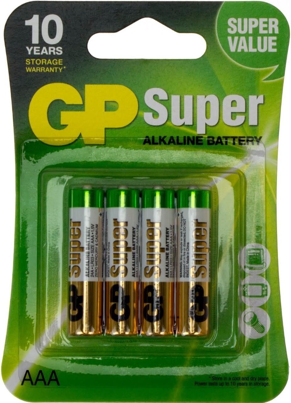 Батарейки GP Super 24A-U4 LR-03/блістер 4шт (10)(80)