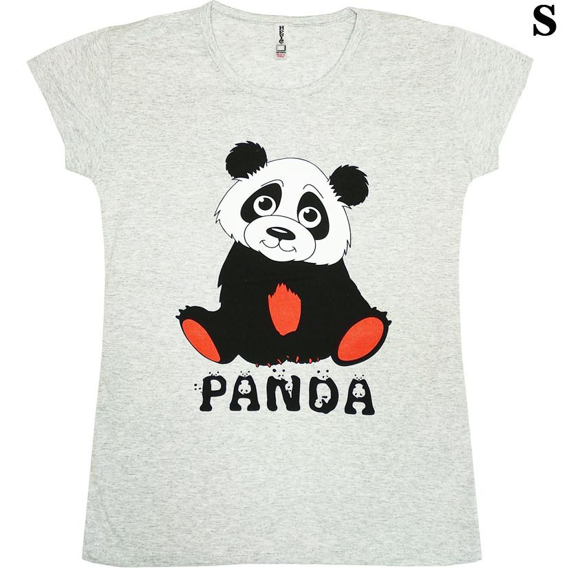 Размер S на 44й Футболка Женская Серого Цвета с Принтом и Надписью Panda, Летние Футболки, Модные Футболки.