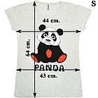 Размер S на 44й Футболка Женская Серого Цвета с Принтом и Надписью Panda, Летние Футболки, Модные Футболки., фото 2