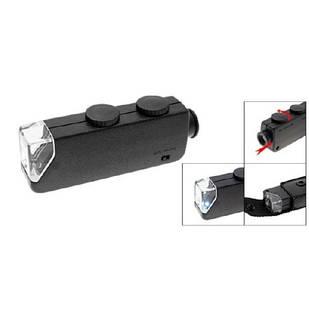 Микроскоп 60-100X карманный, лупа с подсветкой