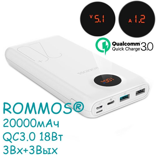 Power Bank Внешний аккумулятор 20000мАч QC3.0 ЖК Romoss SW20 Pro Premium