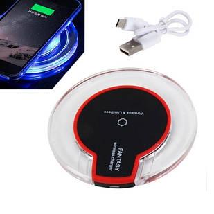 Qi Беспроводная зарядка LED прозрачная, ЗУ для телефона Fantasy, черная