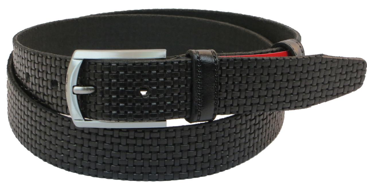 Мужской кожаный ремень под брюки Skipper 1039-35 черный ДхШ: 130х3,5 см.