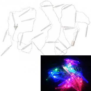 Гирлянда светодиодная новогодняя цветная Сосульки 20 LED ламп 4.5м