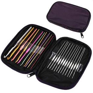 Набор из 22 алюминиевых крючков для вязания, чехол