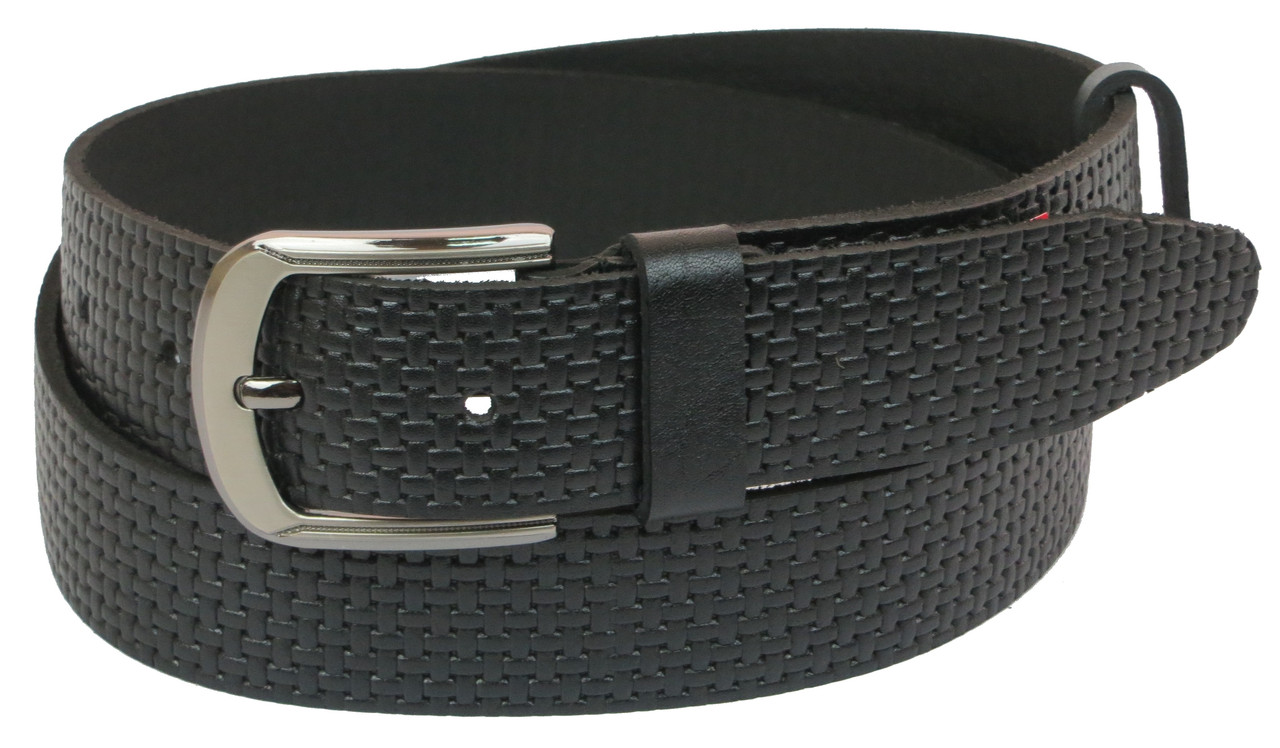 Мужской кожаный ремень под джинсы Skipper 1058-40 черный ДхШ: 148х4 см.