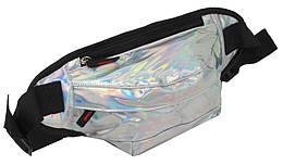 Голограмная поясна сумка зі шкірозамінника Loren SS112 срібляста