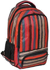 Молодежный яркий рюкзак в полоску PASO 21L 15-8122D красный