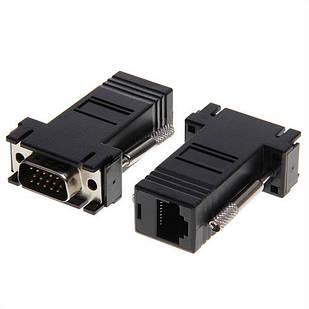 Удлинитель VGA по RJ45 витой паре пассивный, папа-папа, UTP, до 30м