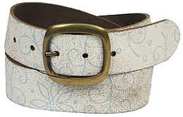 Винтажный женский кожаный ремень с узором, Vanzetti, Германия, 100038 бежевый, 4х101 см