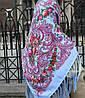Павлопосадский платок нежно голубого цвета (120х120см,голубой, 80%-шерсть)