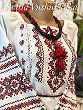 Жіноча вишиванка з домотканого полотна в українському стилі «Червоне і чорне»