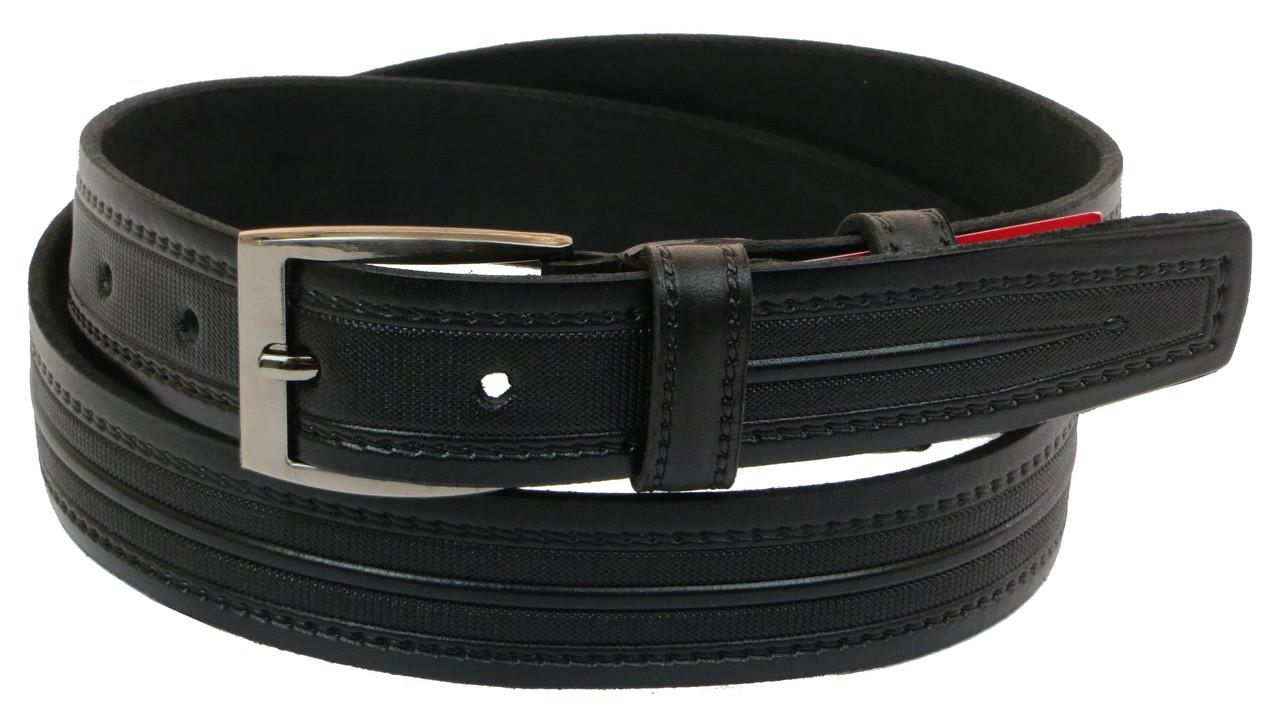 Чоловічий шкіряний ремінь під штани Skipper 1003-35 чорний ДхШ: 128х3,5 див.