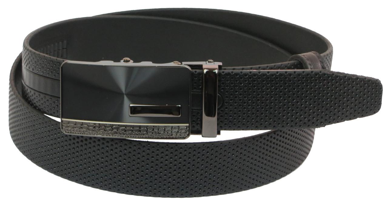 Мужской кожаный ремень под брюки Skipper 1072-35 черный ДхШ: 131х3,5 см.