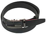 Мужской кожаный ремень под брюки Skipper 1072-35 черный ДхШ: 131х3,5 см., фото 2