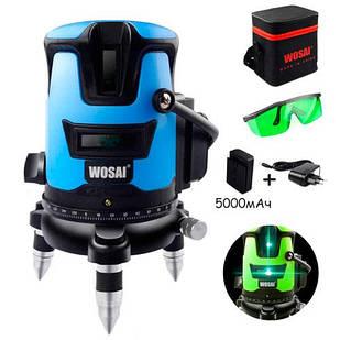 Лазерный уровень, нивелир, 5 линий, 6 точек АКБ Wosai WS-V5, зеленый лазер