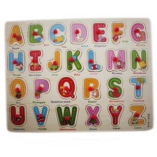 Навчальна дерев'яна дошка Сегена, рамки вкладиші, англ. алфавіт 2