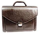 Портфель из эко кожи 4 отдела, Jurom, Польша 0-37-112 коричневый, фото 3