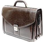Портфель из эко кожи 4 отдела, Jurom, Польша 0-37-112 коричневый, фото 4