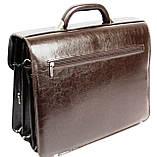Портфель из эко кожи 4 отдела, Jurom, Польша 0-37-112 коричневый, фото 5