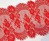 (3 метра) Французское кружево с ресничками Шантильи 34см Цвет - Красный