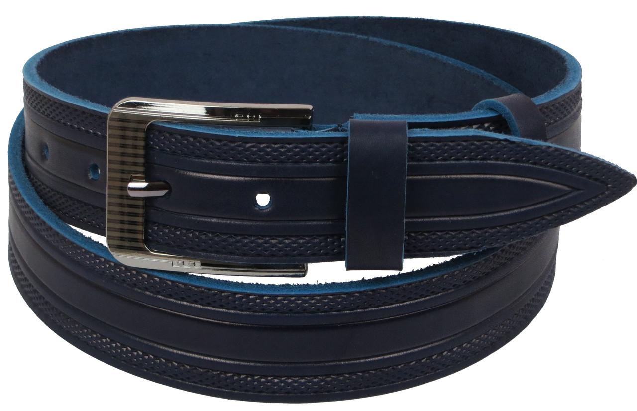 Мужской кожаный ремень под джинсы Skipper 1115-40 синий ДхШ: 127х3,8 см.