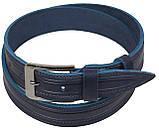 Мужской кожаный ремень под джинсы Skipper 1115-40 синий ДхШ: 127х3,8 см., фото 2