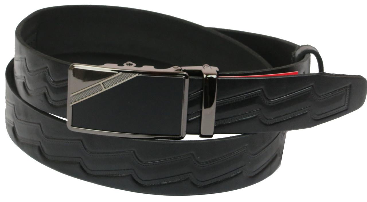 Мужской кожаный ремень под брюки Skipper 1079-35 черный ДхШ: 132х3,5 см.