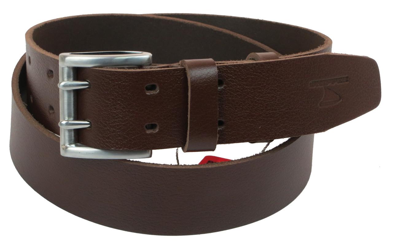 Мужской кожаный ремень под джинсы Skipper 1154-45 коричневый ДхШ: 135х4,5 см.