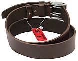Мужской кожаный ремень под джинсы Skipper 1154-45 коричневый ДхШ: 135х4,5 см., фото 3