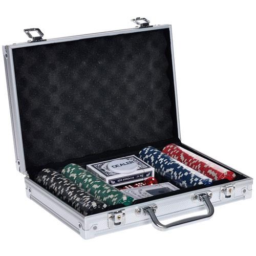 Набор для покера в чемодане: карты, 200 фишек, кубики, покерный