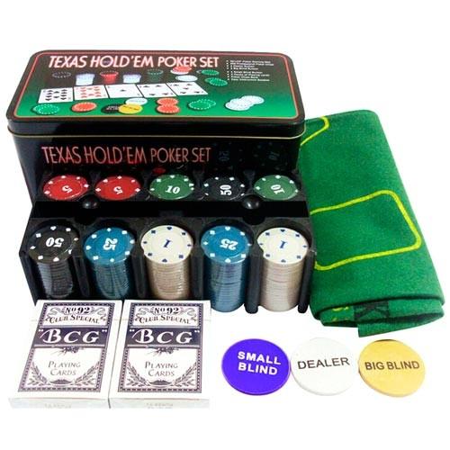 Набор для покера: карты, 200 фишек, сукно в металл коробке, покерный